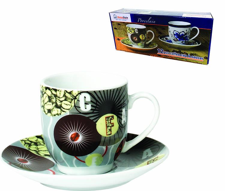ΦΛΥΤΖΑΝΙ ΚΑΦΕ ΟΒΑΛ ΠΟΡΣΕΛΑΝΗ COFFEE ΣΕΤ 6 ΤΕΜΑΧΙΩΝ ΜΕ ΠΙΑΤΟ 90CC