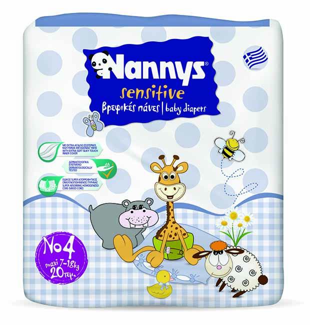 ΠΑΝΕΣ NANNYS SENSITIVE MAXI 20 ΤΕΜΑΧΙΩΝ No4 (7-18 kg)