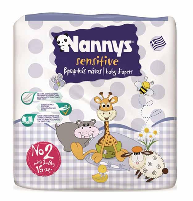 ΠΑΝΕΣ NANNYS SENSITIVE MINI 15 ΤΕΜΑΧΙΩΝ No2 (3-6 kg)