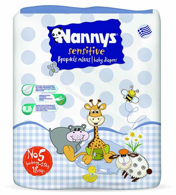 ΠΑΝΕΣ NANNYS SENSITIVE JUNIOR 18 ΤΕΜΑΧΙΩΝ No5 (11-25 kg)